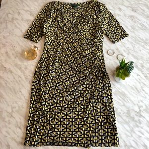 Ralph Lauren Navy/Yellow size 12 half sleeve dress